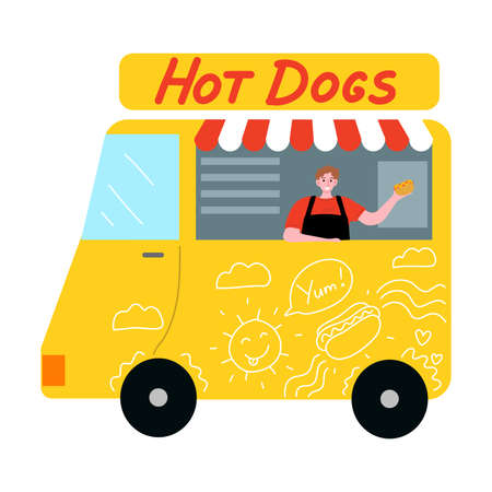 Food truck with hot dogs and smiling seller offering fresh dish Stock Illustratie