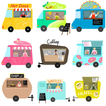 Set of street food trucks with national cuisine vector illustration