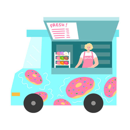 Food truck with fresh donuts, menu with positions and positive seller Stock Illustratie