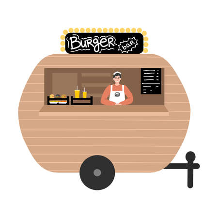 Food truck with burgers and drinks, menu with positions and positive seller
