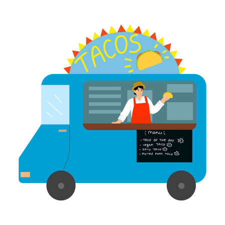 Food truck with Mexican tacos, menu with written positions and positive seller Stockfoto - 152009497