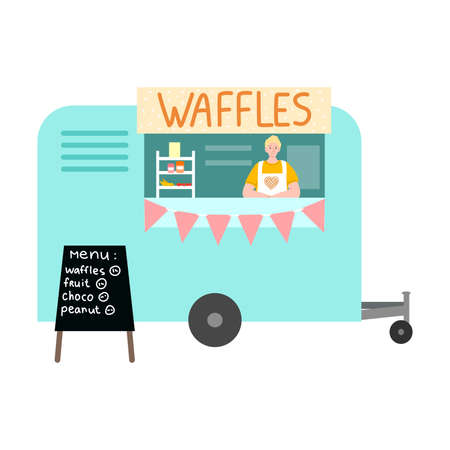 Food truck with fresh waffles and menu with positions and prices Stockfoto - 152007178