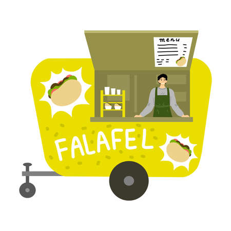 Street food truck with israeli falafel and menu with positions and prices Stockfoto - 151999969