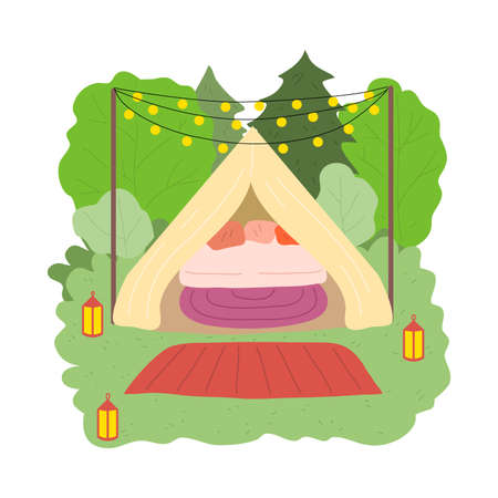Private glamping house for stay with bedroom surrounded by green nature Stock Illustratie