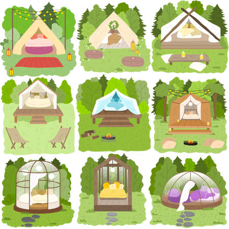 Set of glamping houses for traveling surrounded by green nature