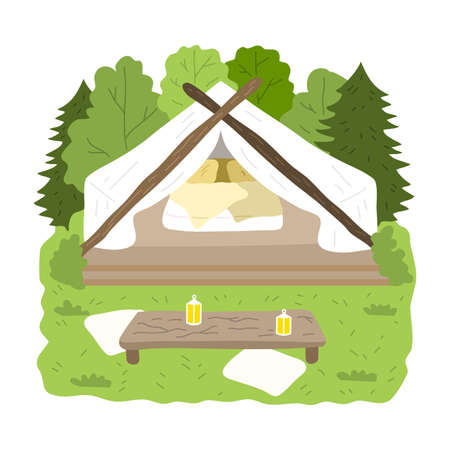 Glamping house for stay with bedroom inside surrounded by green forest and table Stock Illustratie