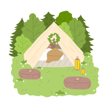 Glamping house for stay with bedroom inside surrounded by green nature and poufs