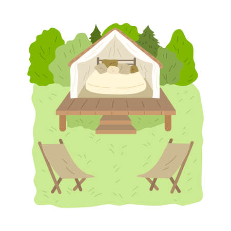 Glamping wooden house with bedroom inside surrounded by green forest and chairs Stock Illustratie
