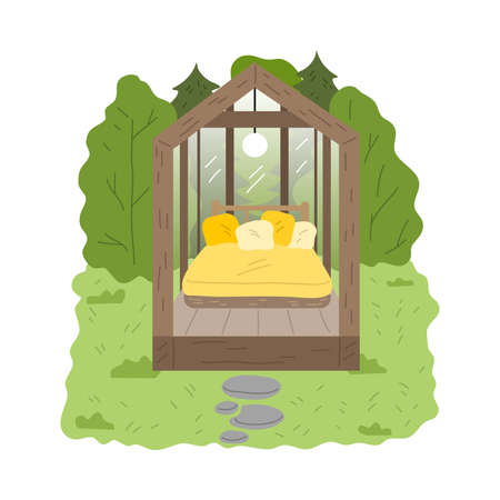 Wooden glamping house with transparent walls and bedroom surrounded by forest Stock Illustratie