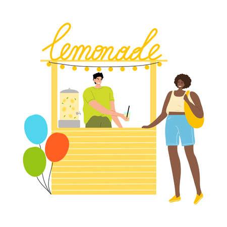 Black woman buying fresh lemonade in street store during summer festival Stock Illustratie
