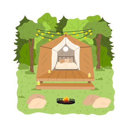 Glamping wooden house with bedroom surrounded by green forest and garlands above