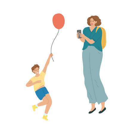 Mother making photo of her smiling son with balloon during summer festival Vettoriali