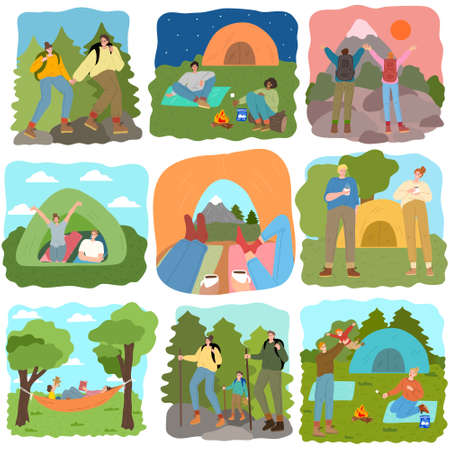 Set of people traveling and having rest on wild nature Vectores