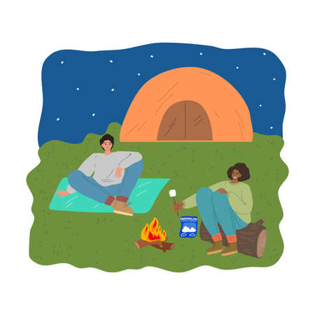 Couple relaxing and baking marshmallows on fire during traveling on wild nature Stock Illustratie
