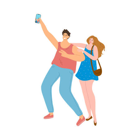 Young couple making selfie outdoors during summer festival Stock Illustratie