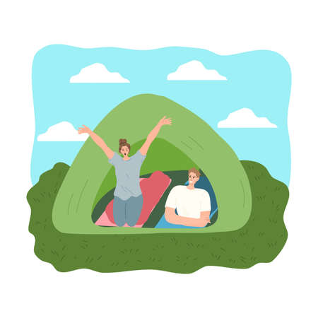 Couple feeling happy in tent in morning during traveling on wild nature Stock Illustratie