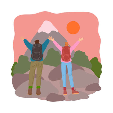 Couple standing and meeting sunrise in mountains during traveling on nature Stock Illustratie