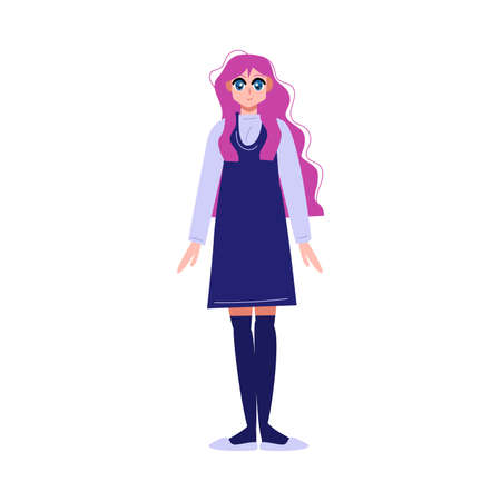 Japanese anime girl with long pink hair in blue school dress