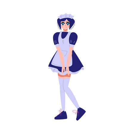 Japanese anime girl in blue uniform and high socks Archivio Fotografico - 152237375