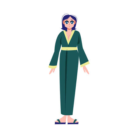 Japanese anime girl in green traditional costume