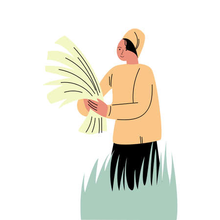 Man farmer in special costume standing in grass and holding freshly picked rice Vettoriali