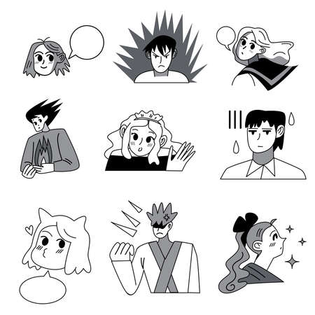 Set of manga characters drawings from traditional japanese comics