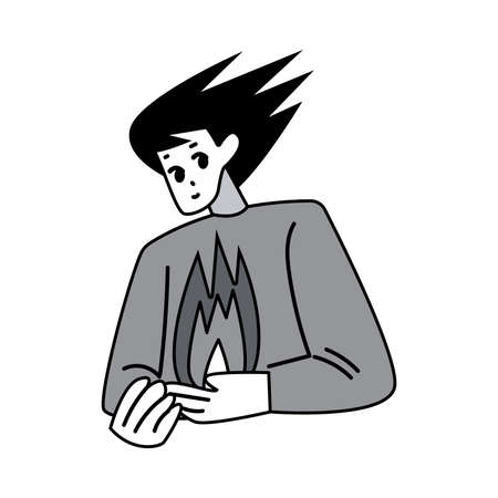 Manga man character drawing with flying hair and hot heart