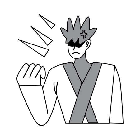 Manga angry negative man character drawing showing power