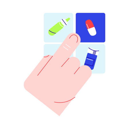 Human hand choosing and ordering medical drugs online on smartphone