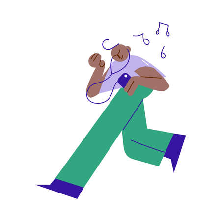 Young black boy teen running and listening to music in headphones Vettoriali