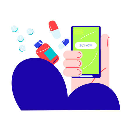 Human hand choosing and buying medical drugs online on smartphone Vettoriali