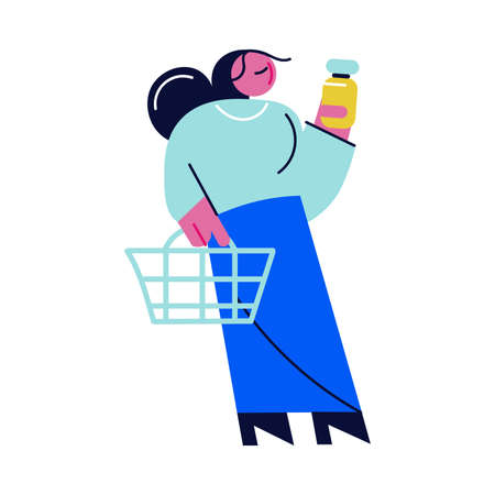 Woman putting medical product in bottle to basket in pharmacy Vettoriali