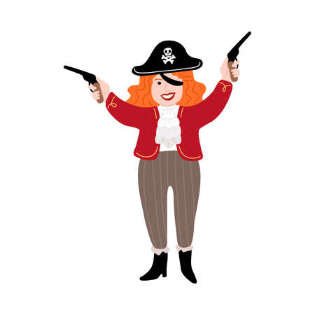 Woman pirate in black cocked hat standing and holding gun in raised hands Illustration