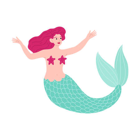 Mermaid with pink hair swimming in sea with starfishes over naked breast