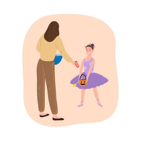 Woman giving chocolate to girl in fairy costume for Halloween holiday Stock Illustratie