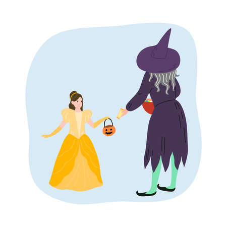 Witch giving sweets to smiling girl in yellow fairy costume for Halloween