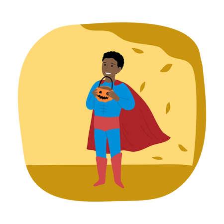Black boy in superhero costume for Halloween standing and holding pumpkin in hands