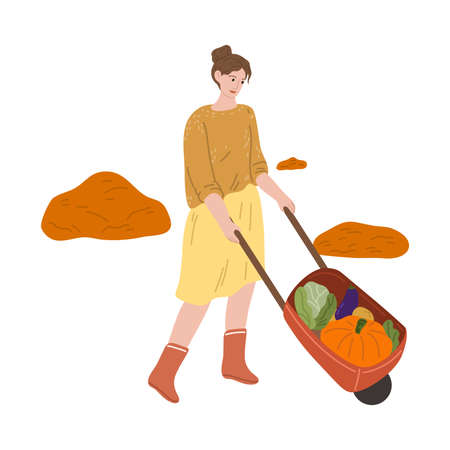 Woman farmer carrying picked vegetables in wheelbarrow during harvesting