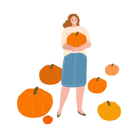 Woman farmer holding ripe pumpkin during harvesting in autumn Stock Illustratie