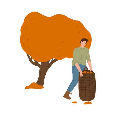 Man farmer carrying picked harvest in bag during harvesting in autumn Stock Illustratie
