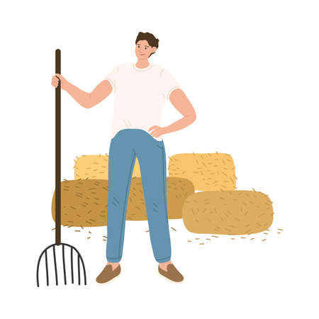 Man farmer standing with scythe during haymaking and harvesting