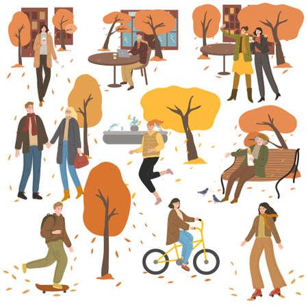 Set of people working, meeting, walking and enjoying life in autumn city