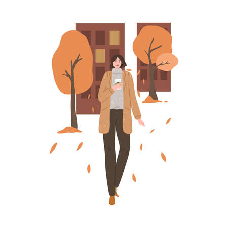 Smiling woman walking with cup of coffee and enjoying life in autumn city Stock Illustratie