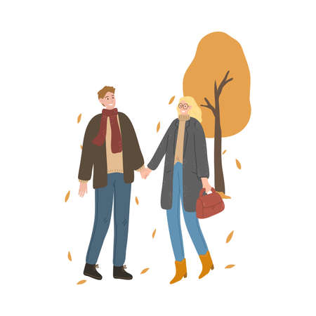 Smiling young couple walking and enjoying life in autumn city Stock Illustratie