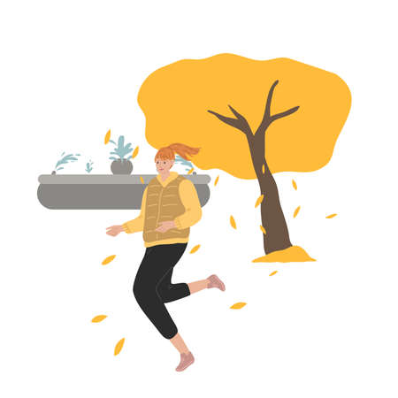 Smiling woman jogging outdoors and enjoying life in autumn city Stock Illustratie