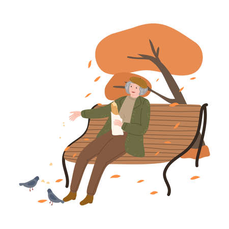 Old woman sitting in park with fresh bread and feeding pigeons in autumn city Stock Illustratie