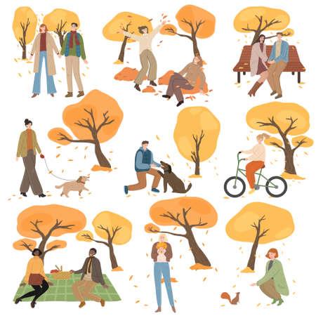 Set of people walking, meeting, having picnics in autumn park