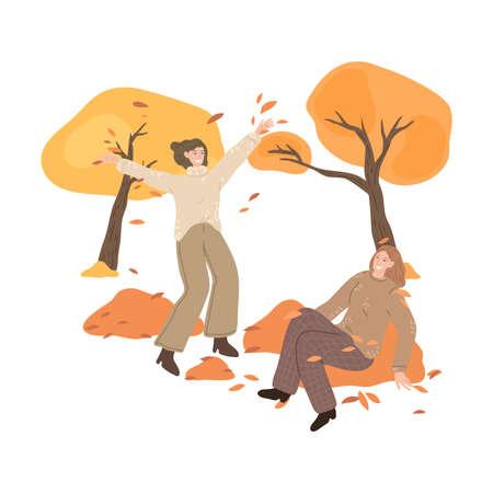 Girls friends having fun in golden foliage and enjoying life in autumn park Stock Illustratie