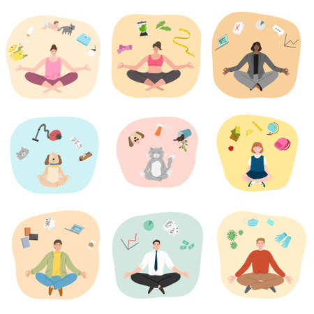 Set of people and animals trying to concentrate and meditating Stock Illustratie