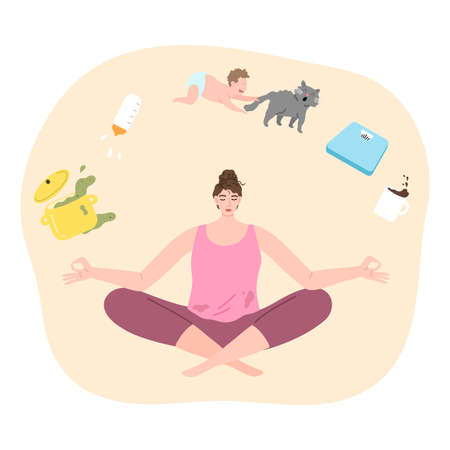 Woman trying to concentrate and not to think about child, cooking, housework and meditating Stock Illustratie
